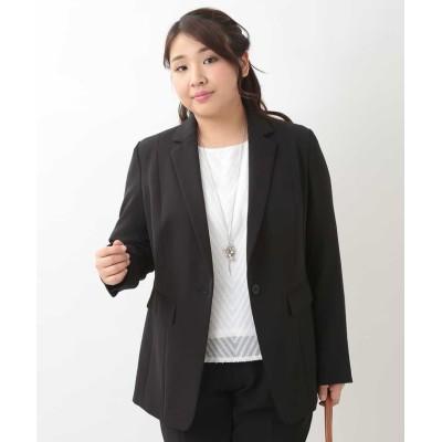 【エウルキューブ】 ストレッチテーラードジャケット レディース ブラック 15 eur3( 大きいサイズ)