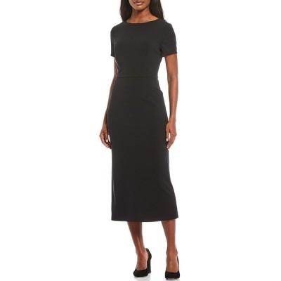 プレストンアンドヨーク レディース ワンピース トップス Cindy Scuba Crepe Short Sleeve Midi Dress Black