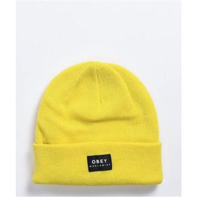 オベイ OBEY レディース ニット ビーニー 帽子 Obey Vernon II Herb Yellow Beanie Yellow