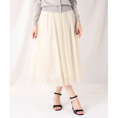 Couture Brooch/クチュールブローチ オーガンジーチュールミモレスカート アイボリー(004) 36(S)