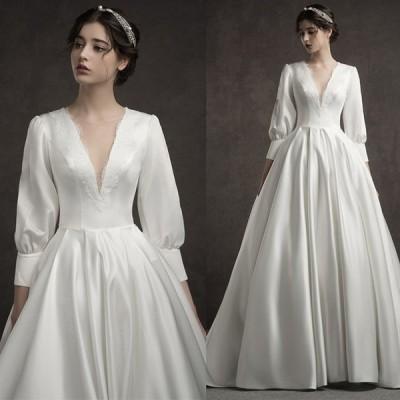 サテンドレス ホワイト Vネック ウェディングドレス レース 袖あり パフスリーブ エレガント 結婚式ドレス トレーン ロング ブライダルドレス 二次会 挙式