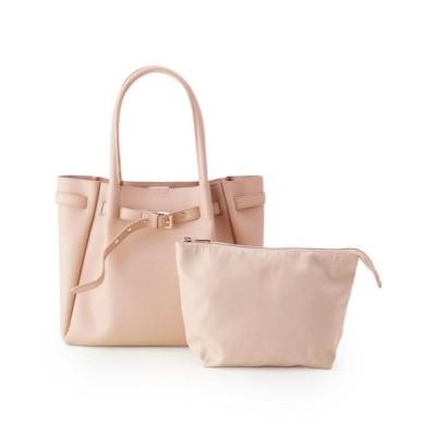 pink adobe/ピンクアドベ ベルト飾りポーチ付A4トートバッグ ピンクベージュ(051) 00