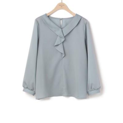サテンフリル ドレスアップブラウス 9分袖