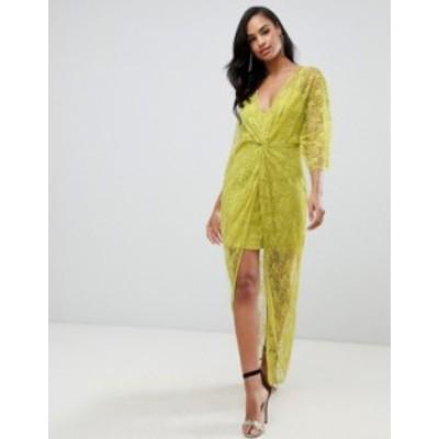 エイソス レディース ワンピース トップス ASOS DESIGN lace knot front kimono maxi dress Chartreuse