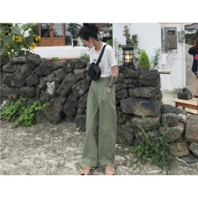 パンツ ワイドパンツ カジュアル シンプル 黒 グリーン 春 夏 秋 レディース フリーサイズ #2225
