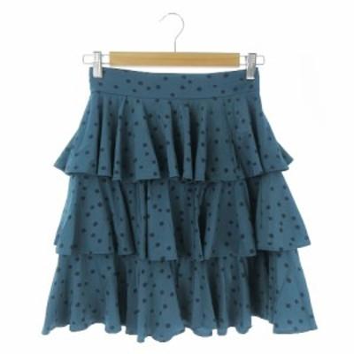 【中古】デイシー deicy ME&ME COUTURE スカート フレア ひざ丈 ティアード ドット 0 緑 グリーン /AO20 レディース