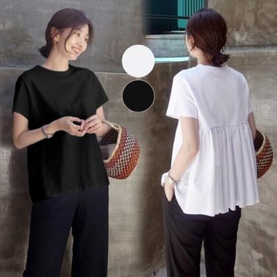 【送料無料】大人かわいいTシャツ・選べる2カラー バッグフリルデザイントップス ゆったり 体型カバー コリアンファッション