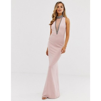 シティゴッデス City Goddess レディース ワンピース マキシ丈 ワンピース・ドレス Stephanie Pratt High Neck Cut Out Embellished Maxi Dress ベージュ