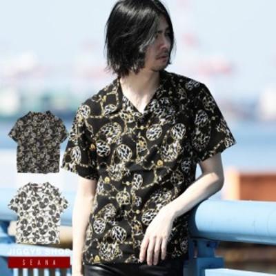 半袖シャツ メンズ カジュアルシャツ オープンカラーシャツ 柄シャツ 5分・7分袖 シャツ トップス 送料無料 夏新作 夏物 ヴィジュアル系