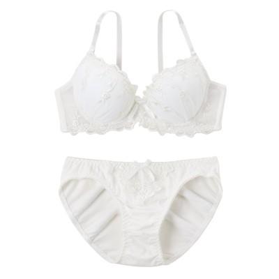 【大きい胸専用】綿混 ドリーミーリボン ブラジャーショーツセット(F80/L) 【大きい胸専用】【グラマー】ワイヤー入りブラジャー&ショーツセット, Bras & Panties