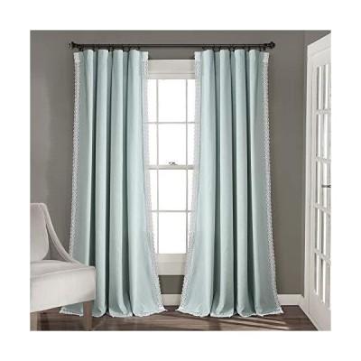 Lush Decor ブルーロザリー ウィンドウカーテン 農家 素朴なスタイルパネルセット リビング/ダイニングルーム/寝室用 (ペア) 84インチ×
