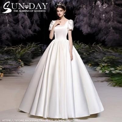 新品ウェディングドレス 白 フォーマルドレス ウエディングドレス エレガント 簡約 パーティードレス 花嫁ロングドレス ワンピース 結婚式 二次会 挙式hs5993