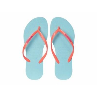 ハワイアナス レディース サンダル シューズ Slim Logo Flip Flops Ice Blue/Coral New