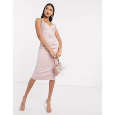 エイソス レディース ワンピース トップス ASOS DESIGN Premium satin look quilted cupped and belted midi dress Pink