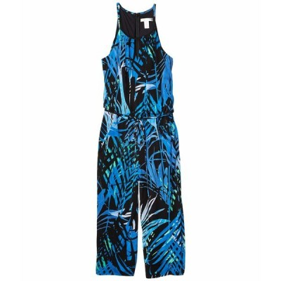 ロンドンタイムス ジャンプスーツ トップス レディース Jungle Palm Cropped Jumpsuit Black/Cobalt