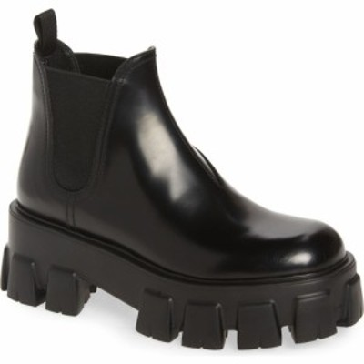 プラダ PRADA レディース ブーツ チェルシーブーツ シューズ・靴 Monolith Lug Sole Chelsea Boot Nero