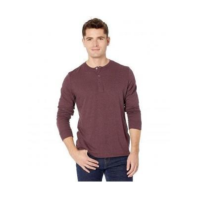 Threads 4 Thought スレッドフォーソート メンズ 男性用 ファッション Tシャツ Tri-Blend Long Sleeved Henley - Maroon Rust