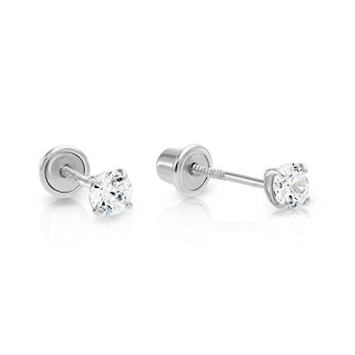 14k White Gold Solitaire Cubic Zirconia CZ Stud Earrings with Secure Screw-backs (3mm)【並行輸入品】