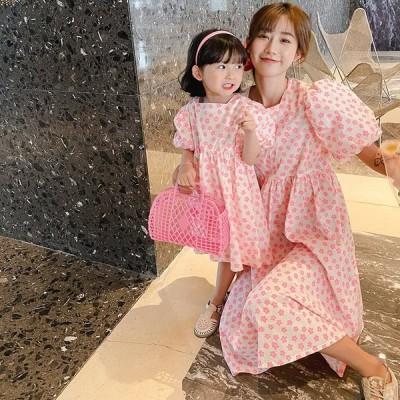 娘さんママママとお揃い親子お揃い親子ペア娘とペアルックワンピースフローラル半袖花柄キッズ親子服女の子プレゼント子供服