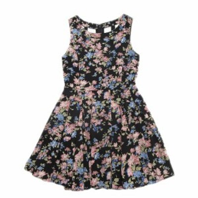 【中古】ドロシーズ DRWCYS 花柄 バックシャン 背中開き ワンピース ノースリーブ プリーツ スカート 1 黒×マルチ