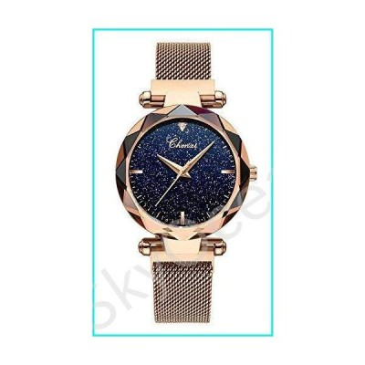 Women Watches Fashion Sky Dial Analog Quartz Watches Magnetic Mesh Band Waterproof Wrist Watches for Girl (Rose Gold)【並行輸入品】