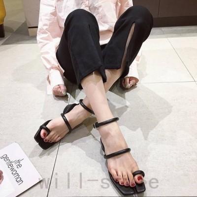 サンダルタビ足袋ストラップサムループ韓国オルチャンストリート原宿系ローヒール靴シューズ