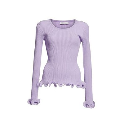 MILLY Women's Lavender Wired Edge Ribbed Knit Pullover Sweater (XS)並行輸入品 送料