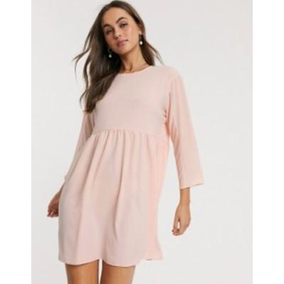 エイソス レディース ワンピース トップス ASOS DESIGN long sleeve smock mini dress Blush