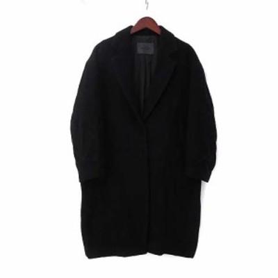【中古】スピック&スパン コート 38 M 黒 ブラック アルパカ ウール混 チェスター シングル 比翼ボタン 無地 シンプル レディース