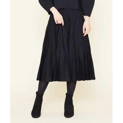 Sybilla/シビラ デザインプリーツニットスカート ブラック 36