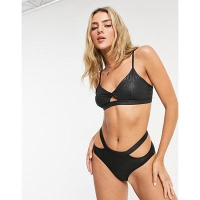ボロンガロトレバー レディース ブラジャー アンダーウェア Bolongaro Trevor animal print cut-out soft bra in black multi