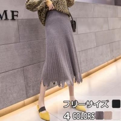 フレアスカート ニットスカート ロングスカート ハイウエストスカート ロング丈 フリーサイズ 全4色 イレギュラーヘム