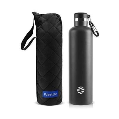 FJbottle 1リットル ステンレスボトル 真空断熱 保温保冷 水筒 第2世代 直飲み スポーツボトル 漏れなし (ブラック 1000ML)