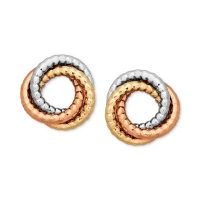 イタリアン ゴールド レディース ピアス&イヤリング アクセサリー Tri-Color Textured Love Knot Earrings in 14k Gold, White Gold & R