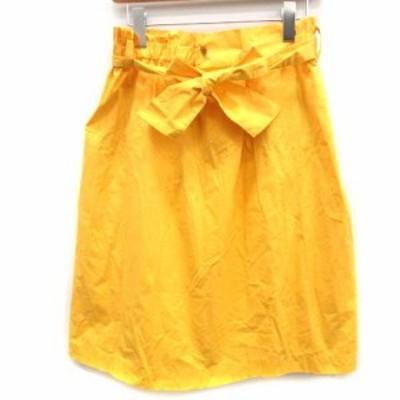 【中古】マカフィー MACPHEE トゥモローランド 17SS スカート ひざ丈 リボン 32 黄 イエロー /EK  レディース