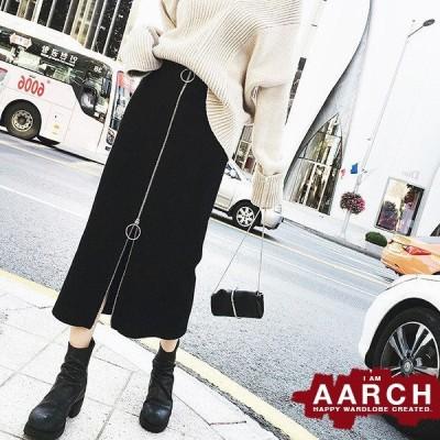 大きいサイズ スカート レディース ファッション ぽっちゃり おおきいサイズ あり ミモレ丈 ペンシルスカート フロントジップ M L LL 3L 4L 5L 秋冬