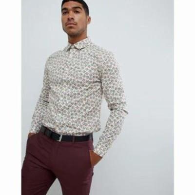 エイソス シャツ smart stretch slim floral ditsy work shirt White