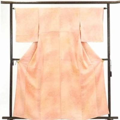 【中古】リサイクル着物 小紋 / 正絹ピンクオレンジぼかし袷小紋着物 / レディース【裄Mサイズ】
