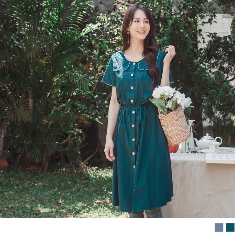 高含棉花邊造型壓褶開襟襯衫式綁帶長洋裝/罩衫