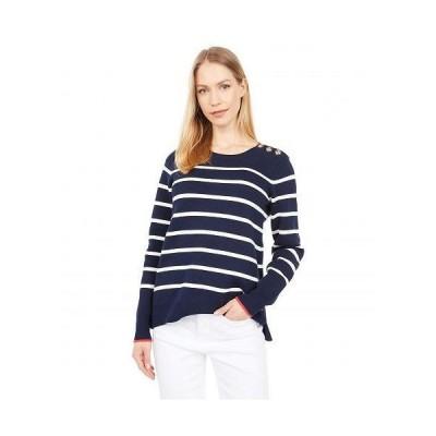 Joules レディース 女性用 ファッション セーター Crew Neck Sweater w/ Button Shoulder - Navy Stripe