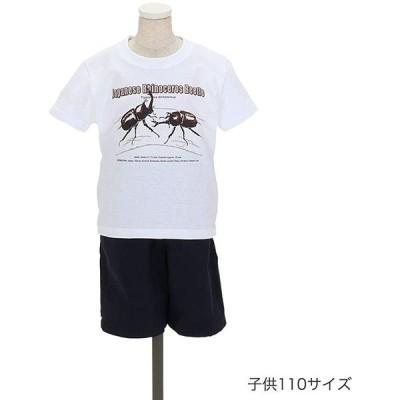 (カロラータ) COLORATA Tシャツ カブトムシ(日本) 子供 110サイズ ホワイト ミュージアムデザイン