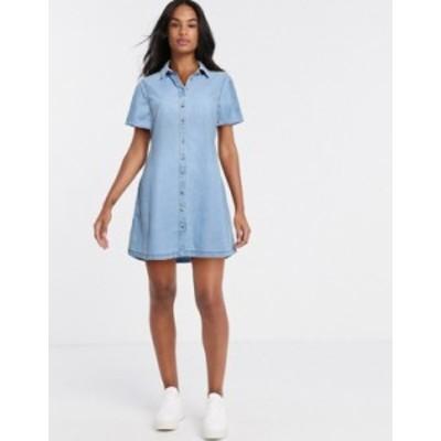 エイソス レディース ワンピース トップス ASOS DESIGN soft denim smock shirt dress in midwash blue Midwash blue