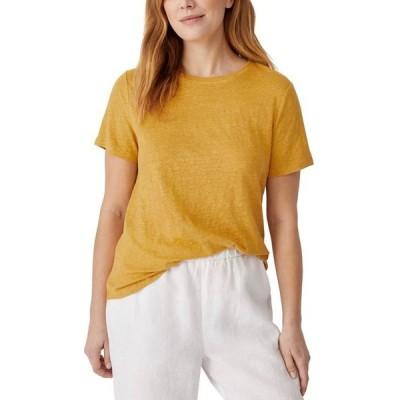 エイリーンフィッシャー レディース シャツ トップス Organic Linen T-Shirt