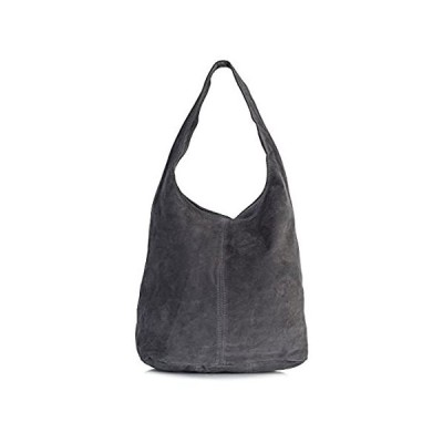 LiaTalia Womens Large Italian Suede Leather Single Shoulder Strap Hobo Slou