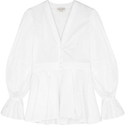 アレキサンダー マックイーン Alexander McQueen レディース ブラウス・シャツ トップス White Peplum Cotton-Poplin Shirt White