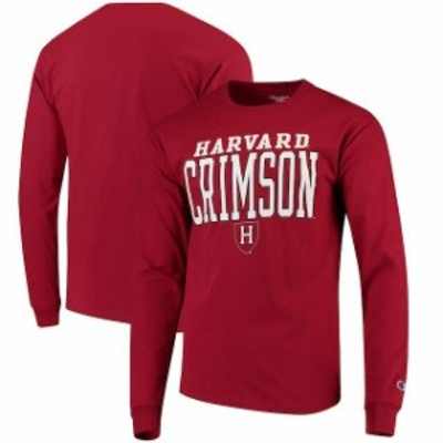 Champion チャンピオン スポーツ用品  Champion Harvard Crimson Crimson Stacked Logo Long Sleeve T-Shirt
