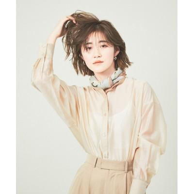 シャツ ブラウス 【WEB先行販売】シアースタンドカラーシャツ