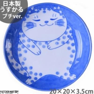 ねこちぐら ブチ 20cm うすかる 丸皿 60皿 プレート カレー皿 パスタ皿 子供 丸 丸型 美濃焼 国産 日本製 陶器 猫 ネコ ねこ 猫柄 ネコ柄