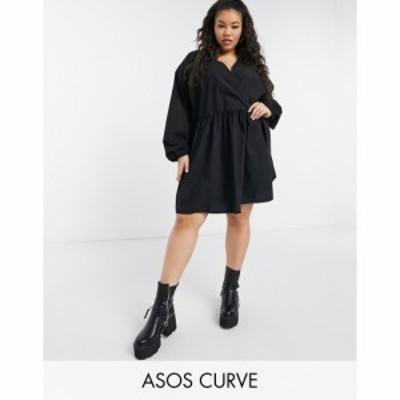エイソス ASOS Curve レディース ワンピース ラップドレス ミニ丈 Asos Design Curve Casual Cotton Poplin Wrap Front Mini Smock Dress