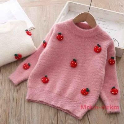 セーター 長袖 キッズ 子供服 ニット 丸首 クルーネック プルオーバー イチゴ いちご 苺 刺繍 立体的 リブ仕様 袖リブ 裾リブ かわいい キュー